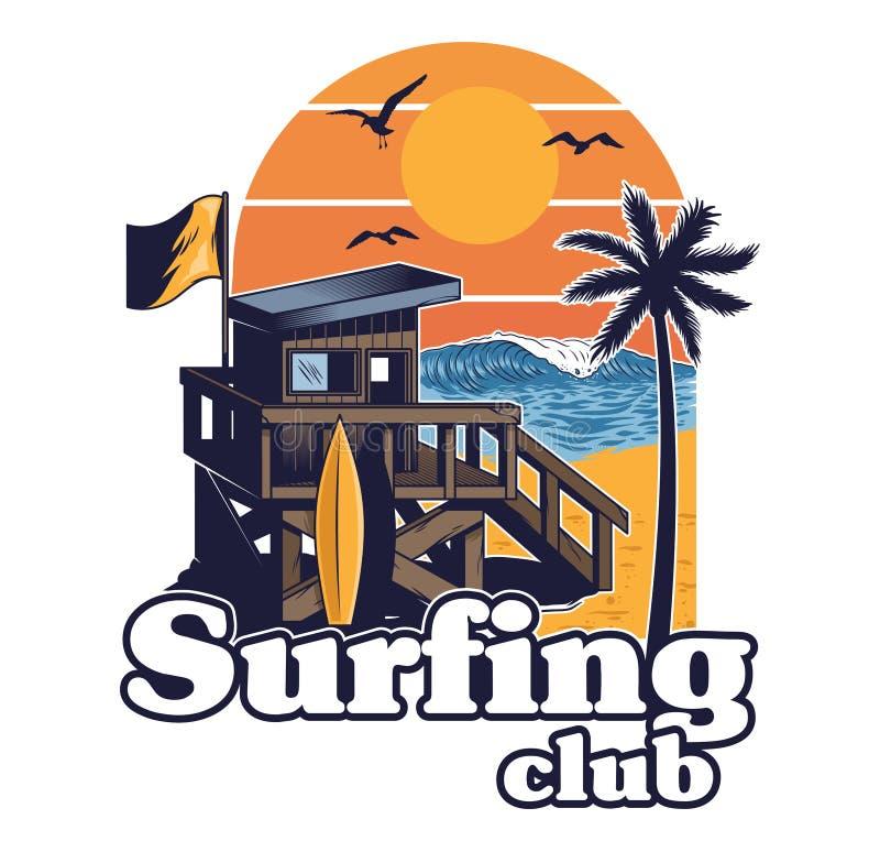 冲浪的俱乐部海滩木屋  向量例证
