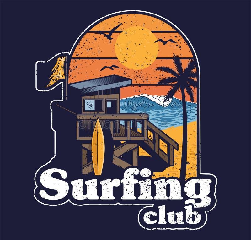 冲浪的俱乐部海滩海滩木屋  库存例证