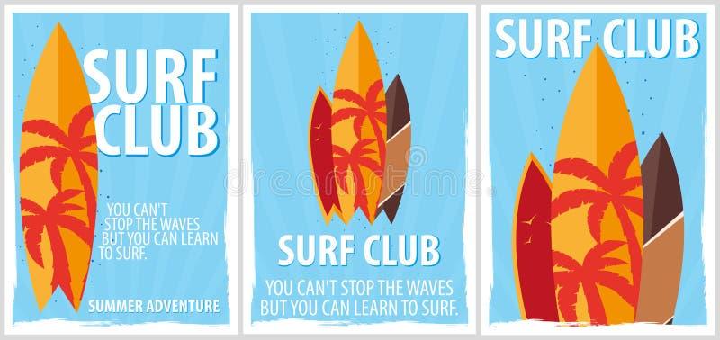 冲浪的俱乐部的冲浪的海报与冲浪板 也corel凹道例证向量 向量例证
