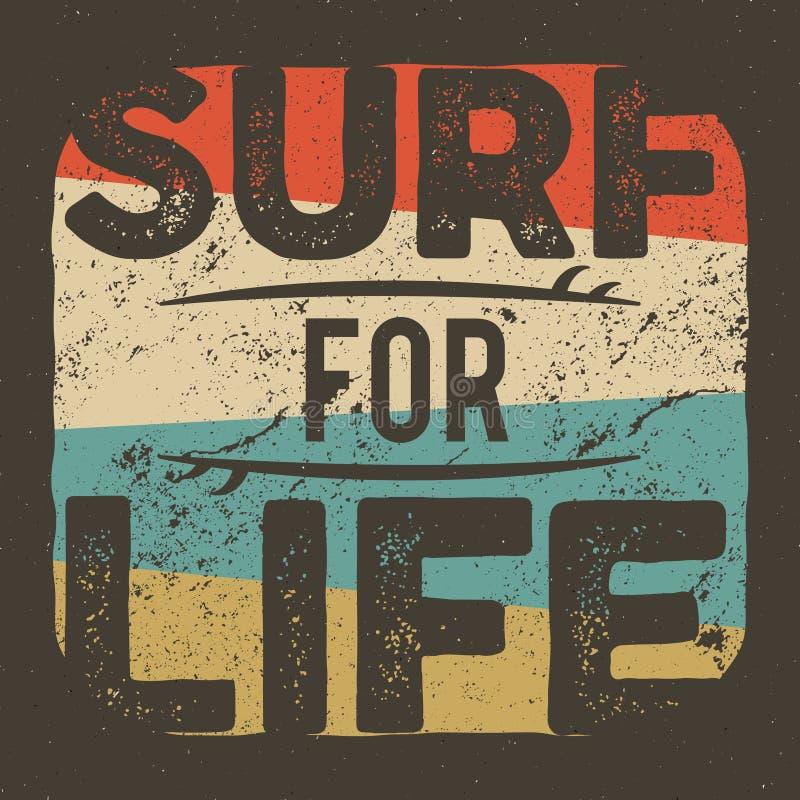 冲浪的公司的葡萄酒T恤杉服装图形设计 减速火箭的海浪发球区域设计 用途当网横幅,海报 向量例证