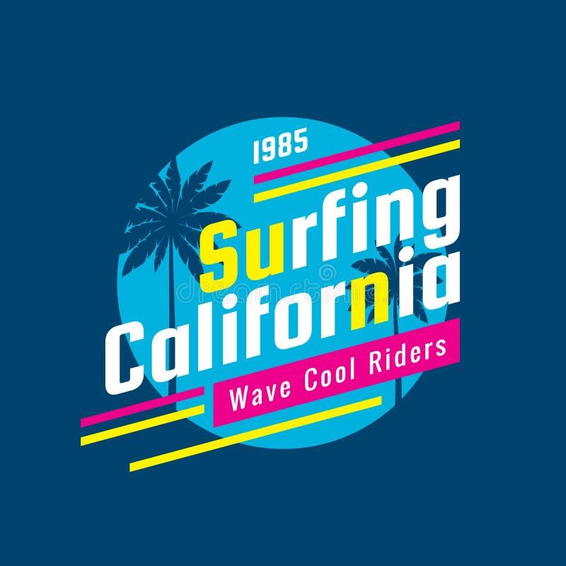 冲浪的加利福尼亚-概念商标徽章T恤杉的,印刷品,海报,小册子传染媒介例证 夏天,棕榈,海浪 热带 库存例证