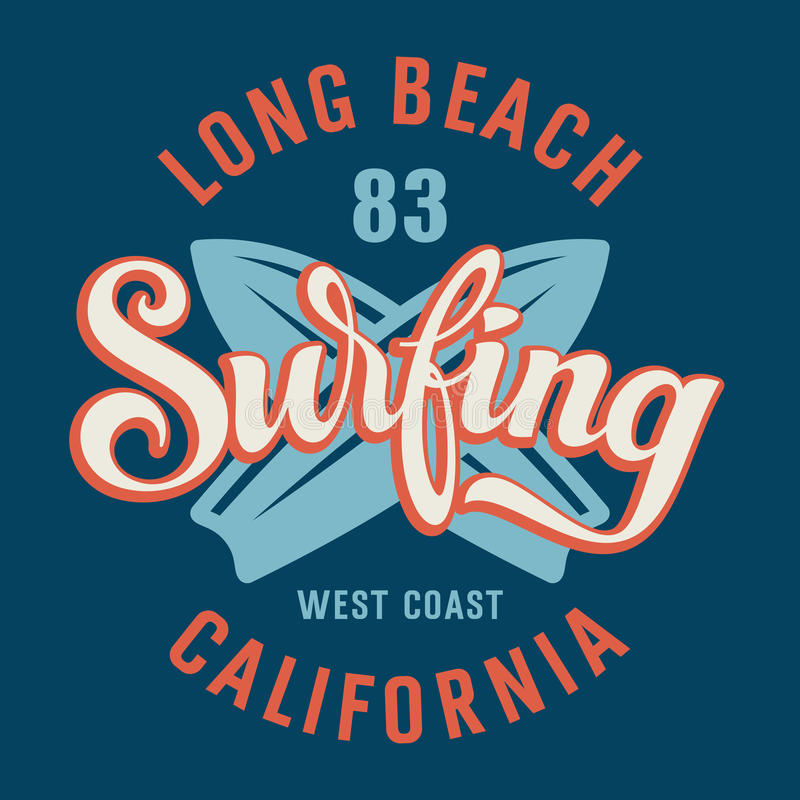 冲浪的加利福尼亚 库存例证