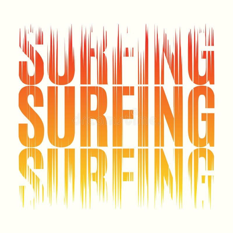 冲浪的发球区域印刷品 T恤杉设计图表邮票标签typograph 库存例证