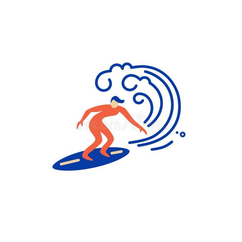 冲浪的商标设计 冲浪者和大波浪 向量例证