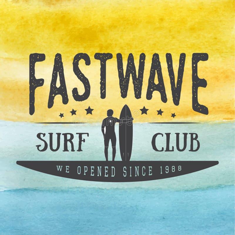 冲浪的商标,标签或在手边证章在葡萄酒样式的被画的水彩背景 库存例证