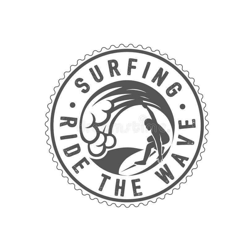 冲浪的商标 乘波浪 海浪车手 向量例证
