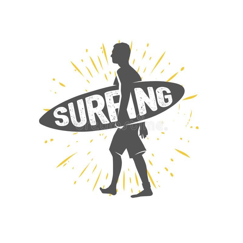 冲浪的商标 乘波浪 海浪车手 库存例证