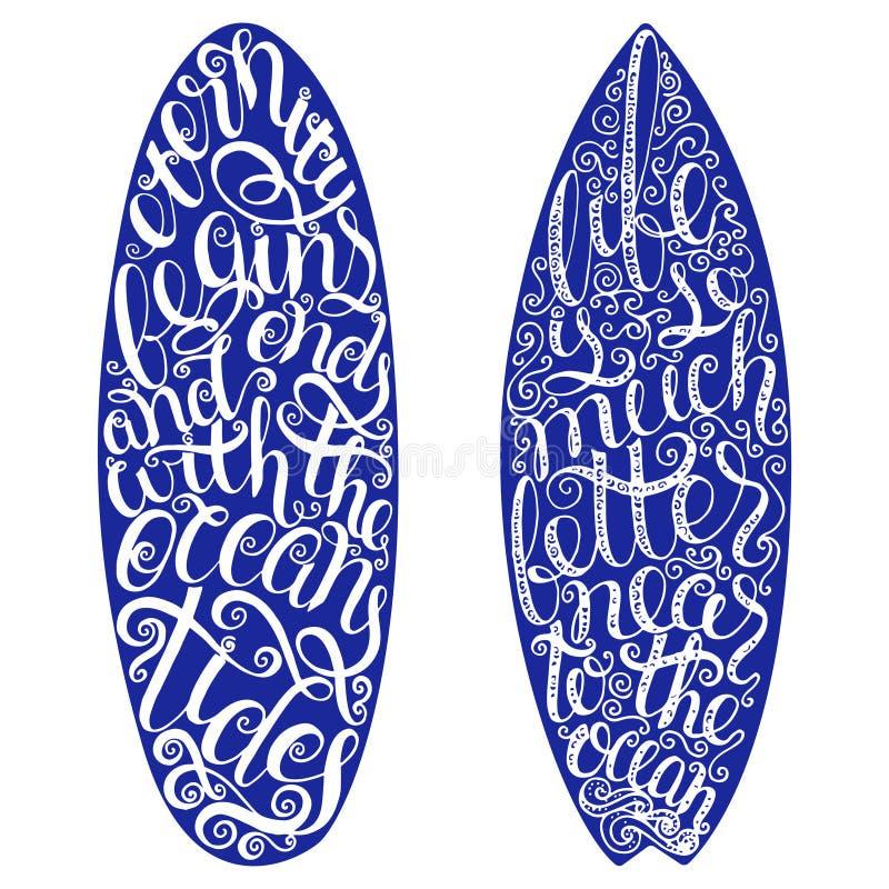 冲浪的图表和海报网络设计或印刷品的 海浪印刷术徽章 冲浪板封印,元素,标志 夏天 库存例证