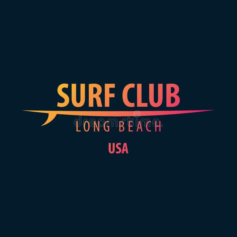 冲浪的图表和象征网络设计或印刷品的 冲浪者商标模板 海浪俱乐部或商店 皇族释放例证