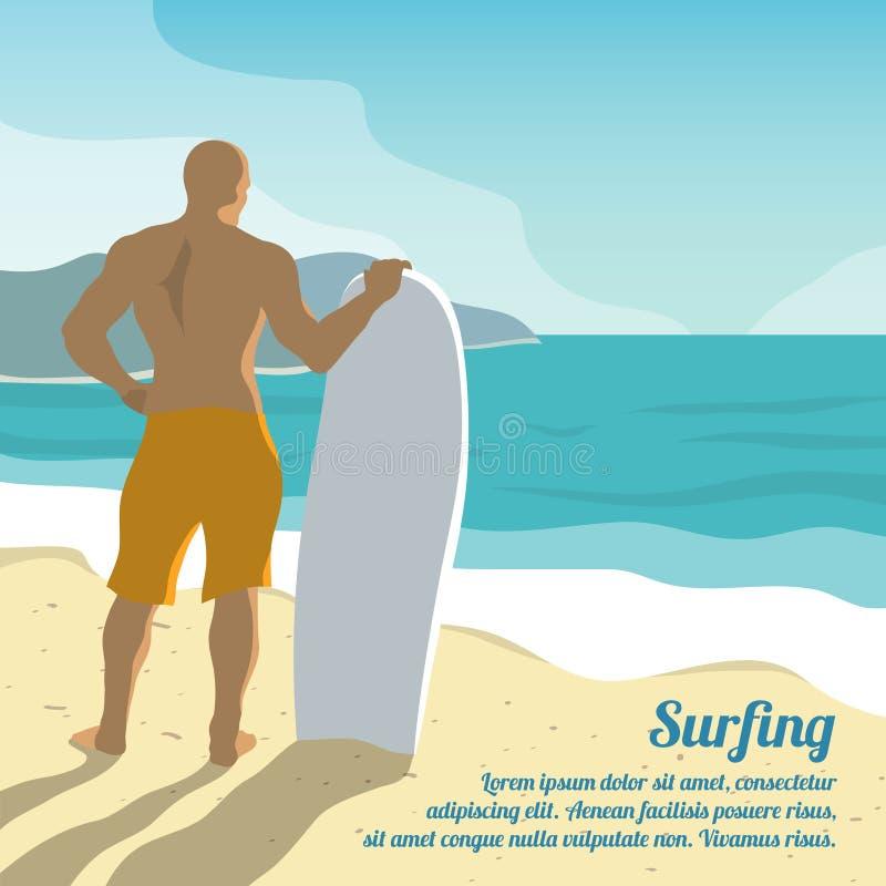 冲浪的夏天海报 库存例证