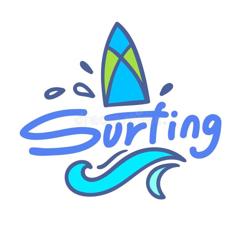 冲浪的字法或印刷术设计,与乱画元素的徽章有海波浪的水橇板 夏时假期,旅行 库存例证
