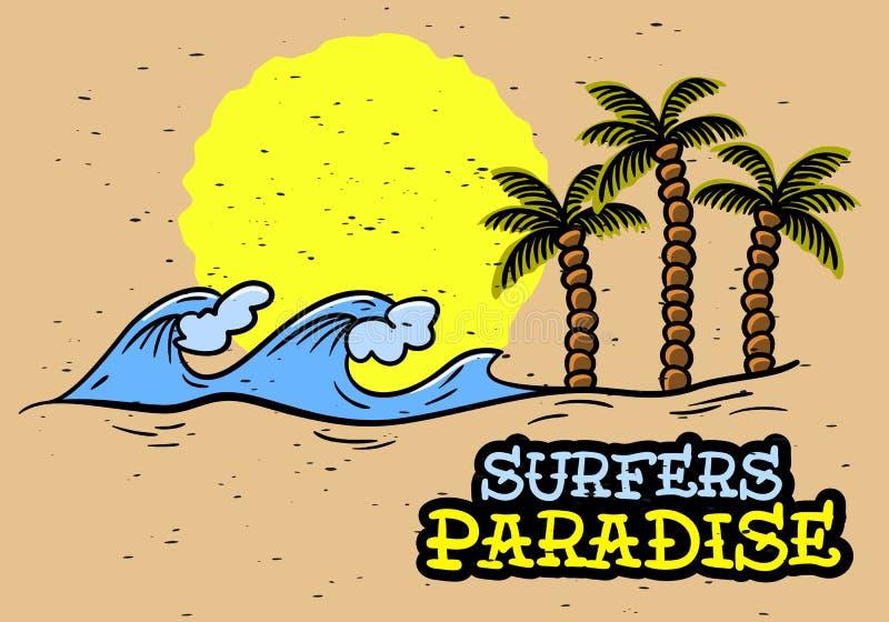 冲浪的海浪主题的手拉的传统守旧派纹身花刺审美被影响的艺术图画葡萄酒启发 库存例证