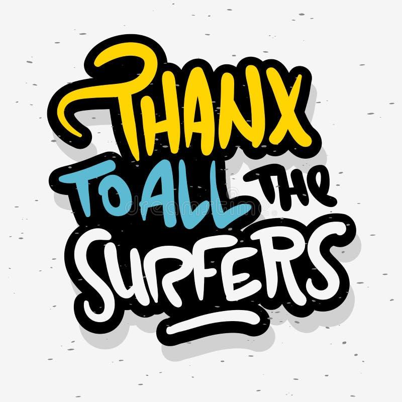 冲浪的海浪感谢您标志标签促进广告T恤杉或贴纸海报飞行物设计传染媒介图象 向量例证