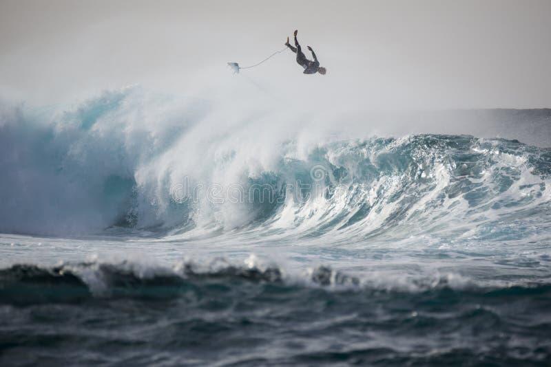 冲浪种族Quemao类兰萨罗特岛- 2016年1月24日 免版税库存照片