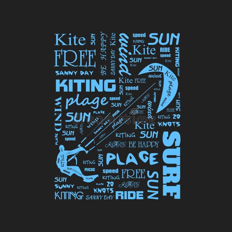 冲浪者与风筝的T恤杉图表 海报 库存例证