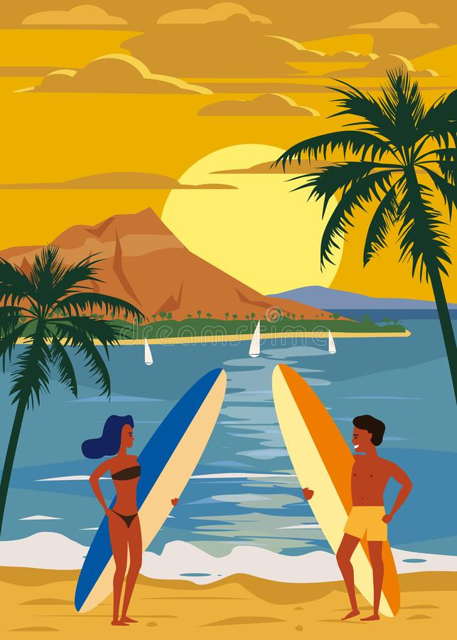 冲浪者人和在海滩的妇女夫妇,日落,海岸,棕榈树 准备好冲浪 手段,热带,海,海洋 库存例证