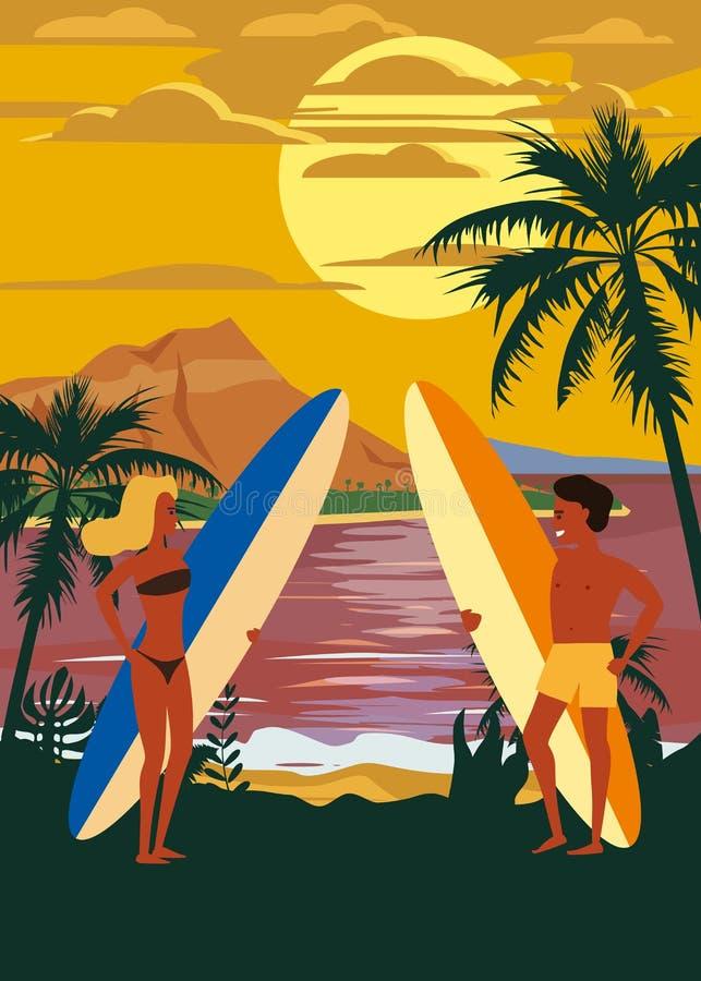 冲浪者人和在海滩的妇女夫妇,日落,海岸,棕榈树 准备好冲浪 手段,热带,海,海洋 皇族释放例证
