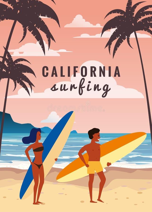 冲浪者人和在海滩的妇女夫妇,海岸,棕榈树 准备好冲浪 手段,热带,海,海洋 ?? 库存例证
