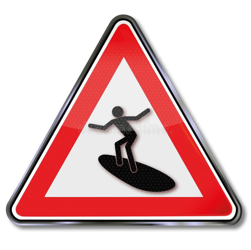 冲浪者和冲浪在海 向量例证