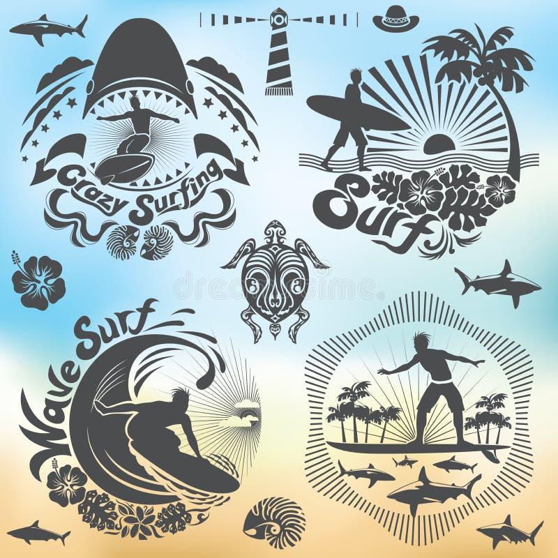 冲浪者和海浪假日 向量例证