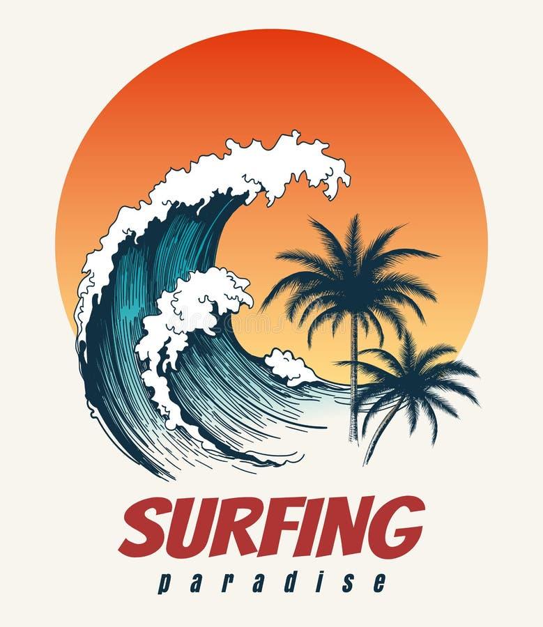 冲浪者大波浪减速火箭的海报 库存例证