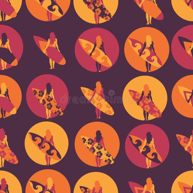 冲浪者女孩无缝的传染媒介样式 有冲浪板例证的妇女在圈子紫色桃红色橙色背景中 使海岸塞浦路斯地中海沙子石头夏天海浪靠岸 皇族释放例证