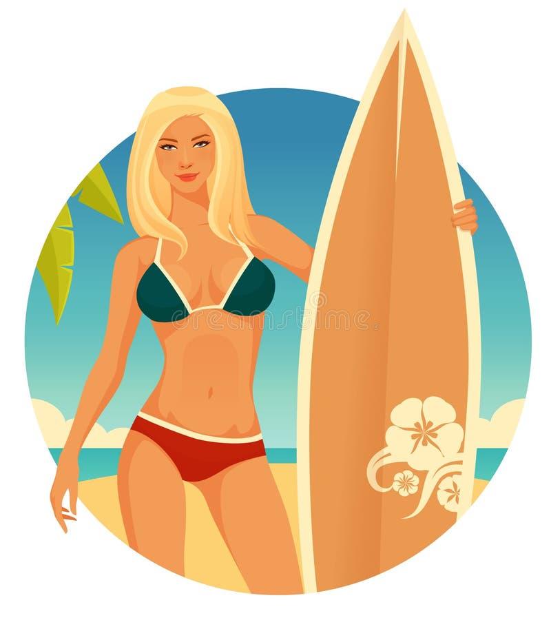冲浪者女孩有简单的海边背景 库存例证