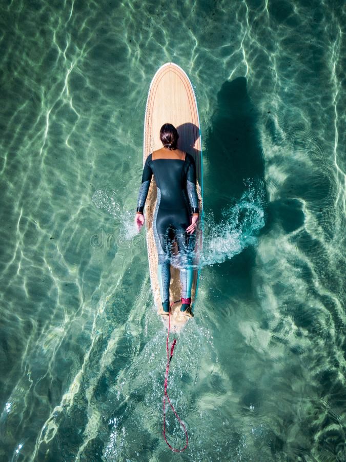 冲浪者女孩的鸟瞰图 库存照片