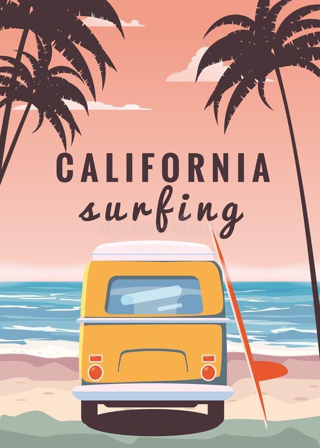 冲浪者橙色公共汽车,搬运车,有冲浪板的露营车在热带海滩 海报加利福尼亚后边棕榈树和蓝色海洋 向量例证