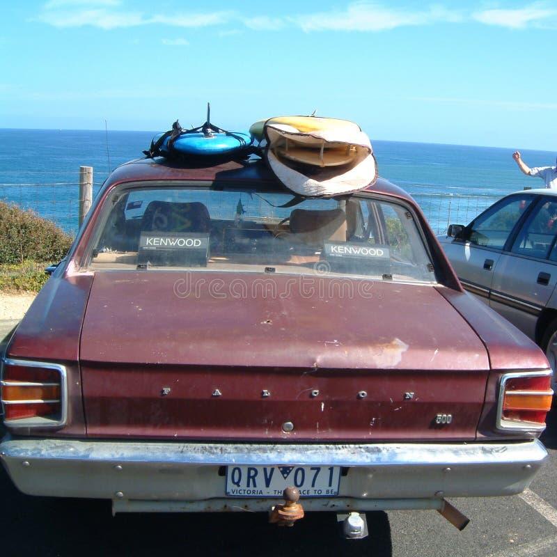 冲浪者汽车在torquay 免版税库存图片