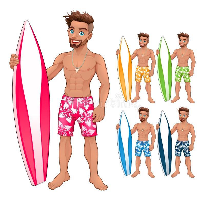 冲浪者男孩,用不同的颜色 皇族释放例证