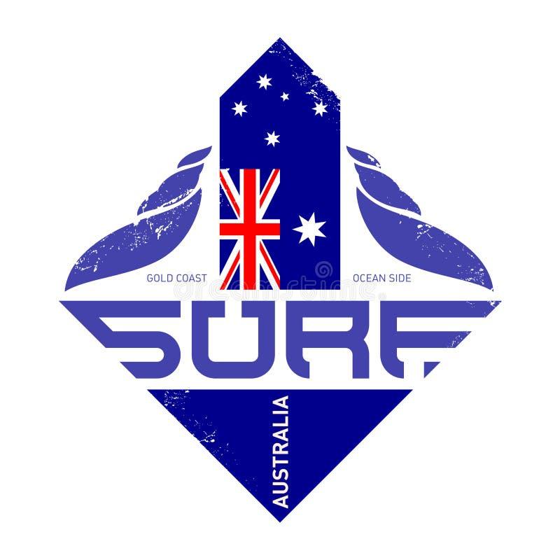 冲浪者的T恤杉设计,戈尔德比尤特海浪车手,澳大利亚 Su 向量例证