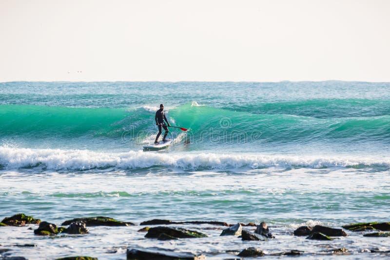 冲浪者站立在蓝色波浪的明轮轮叶 冲浪在海洋的一口 免版税库存照片