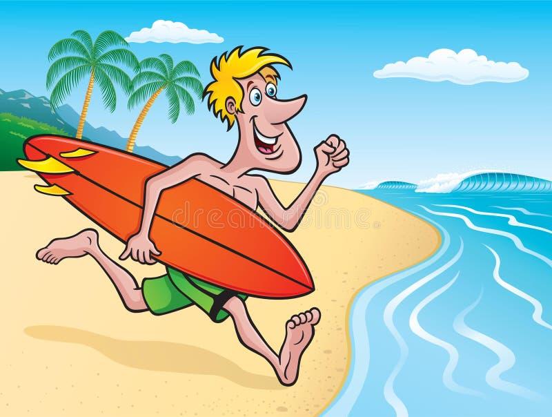 冲浪者去的冲浪在热带海岛上 库存例证
