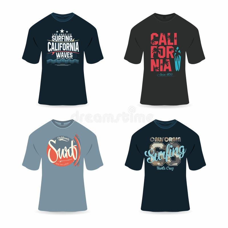 冲浪,加利福尼亚T恤杉设计, T恤杉图表的印刷术 能在大小上被改变或标度 向量例证