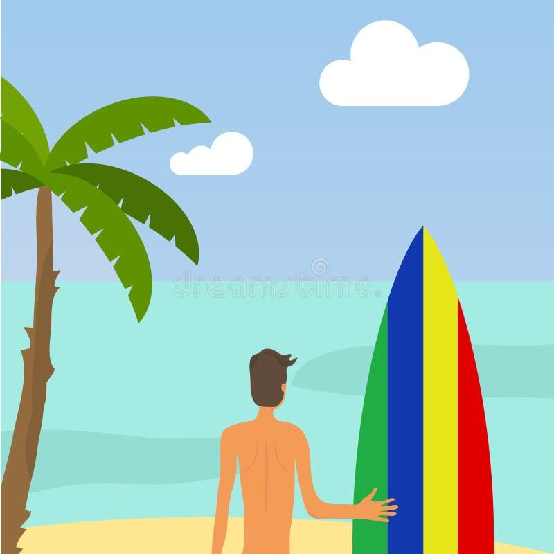 冲浪 一个人拿着一个冲浪板以海洋为背景 库存例证