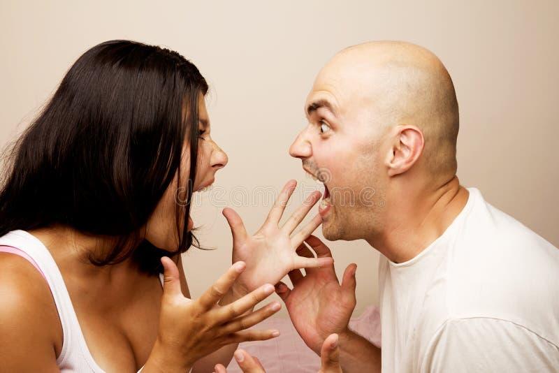 冲突,年轻夫妇 库存照片