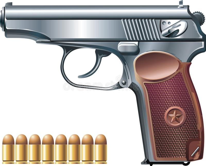 冲锋枪和弹药 向量例证