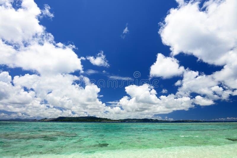 冲绳岛的鲜绿色海。 库存图片