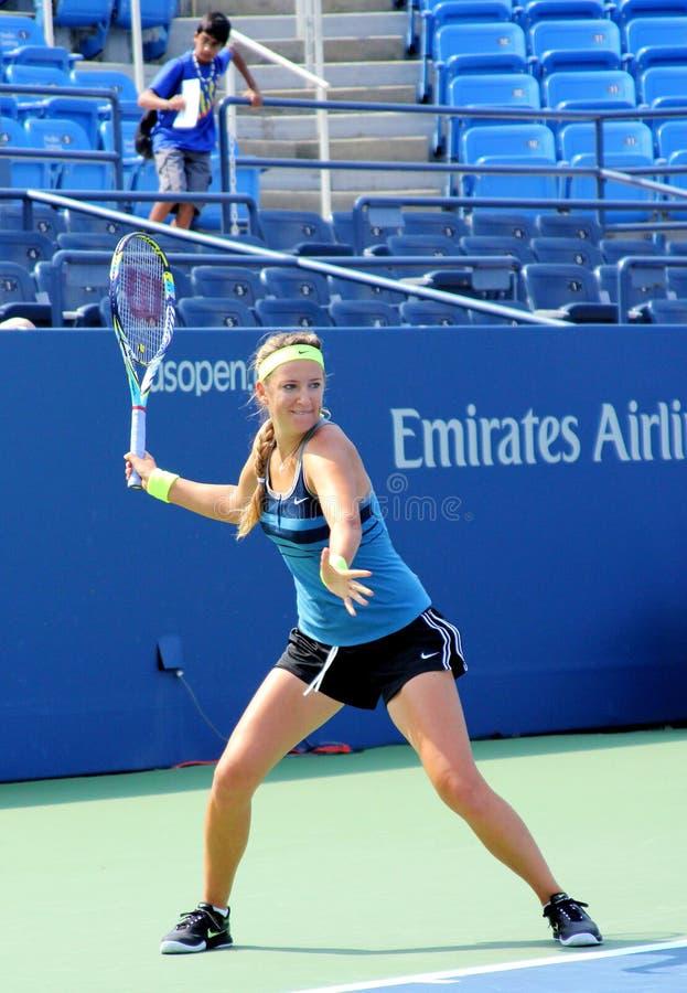 全垒打冠军维多利亚Azarenka为美国公开赛实践在比利吉恩National Tennis Cente国王 免版税库存照片