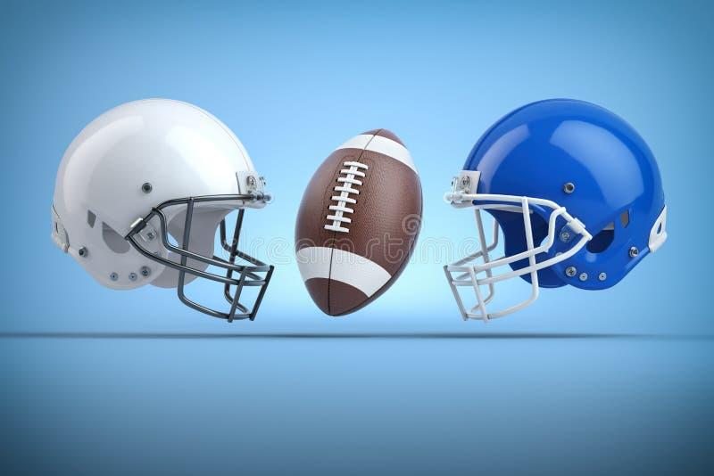 美式足球橄榄球盔和球 决赛概念 r 库存例证