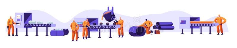 冶金学产业集合 资源采矿,熔炼金属在大铸造厂,热钢倾吐在钢铁厂 工厂车间 库存例证