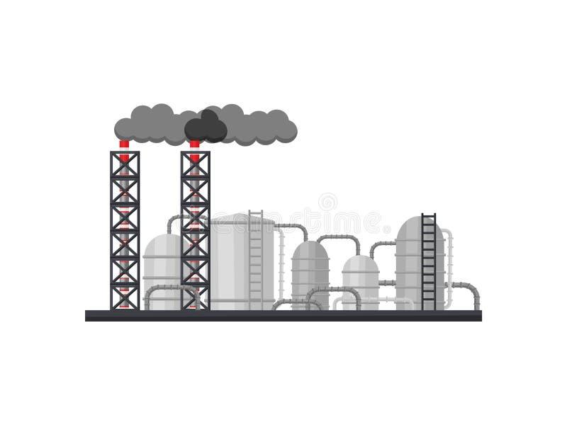 冶金工厂 有长的抽烟的烟囱、金属储水池和管子的制造的工厂 平的传染媒介设计 皇族释放例证