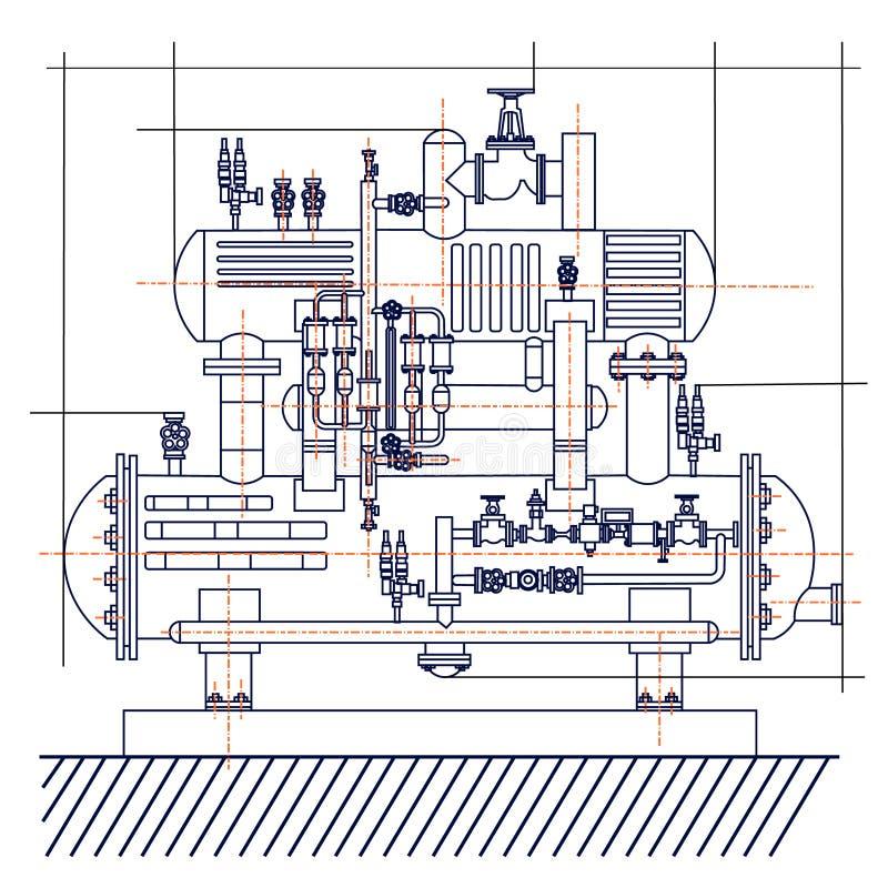 冷冻机的光滑的自由技术图画 画机器冷颤 皇族释放例证