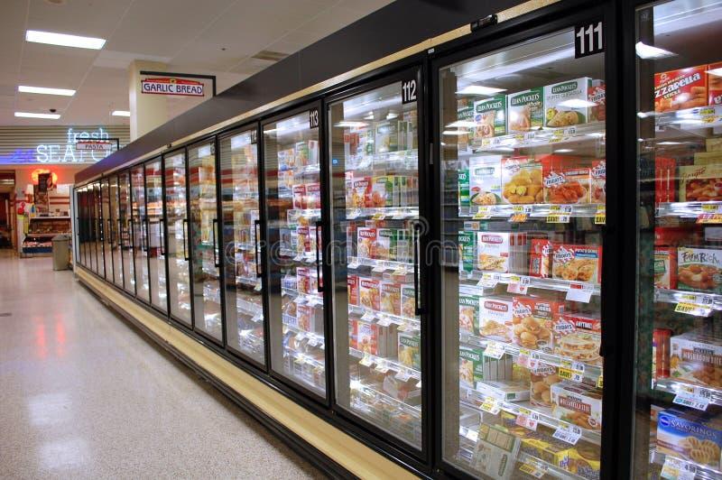 冷冻食品走道 库存图片