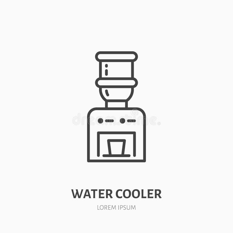冷却器平的线象 饮料分配器标志 办公设备商店的稀薄的线性商标 库存例证