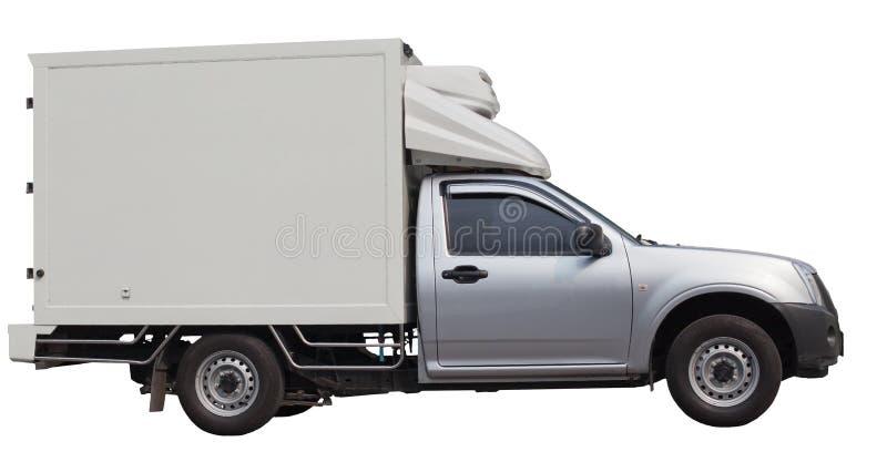 冷却查出的卡车有篷货车白色 免版税库存图片