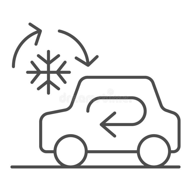 冷却的汽车系统稀薄的线象 在白色隔绝的自动空调传染媒介例证 汽车气候控制 库存例证