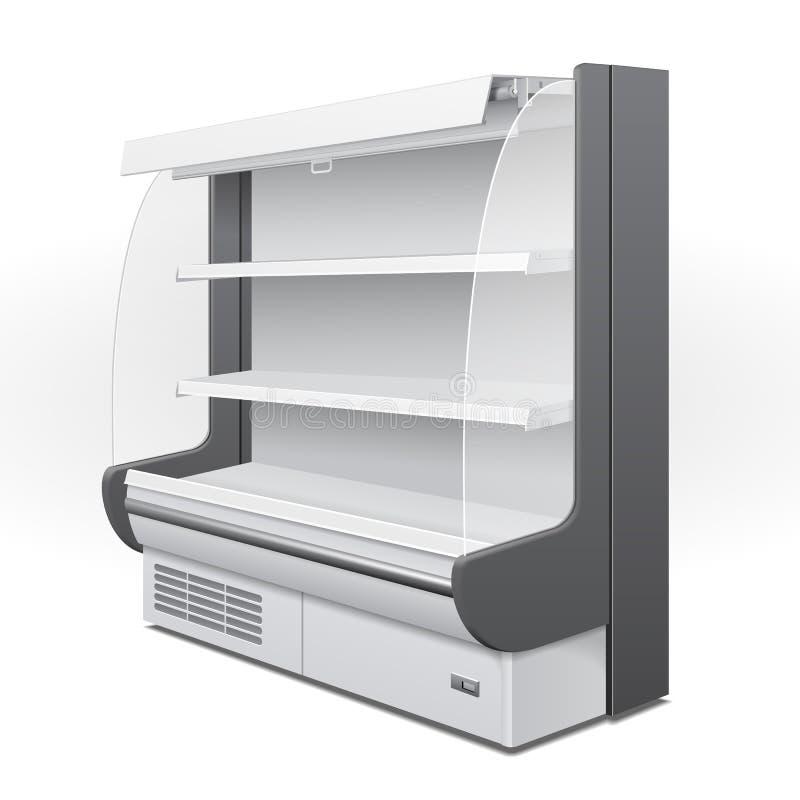 冷却的豪华机架冰箱壁柜空白空的陈列室显示 零售架子 3D产品隔绝了 向量例证