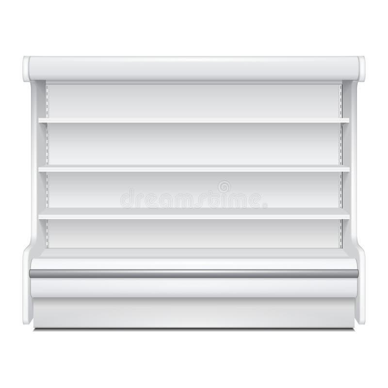 冷却的豪华机架冰箱壁柜空白空的陈列室显示 零售架子 3D产品隔绝了 皇族释放例证